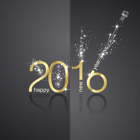 New Year 2016 firework front back black background 일러스트