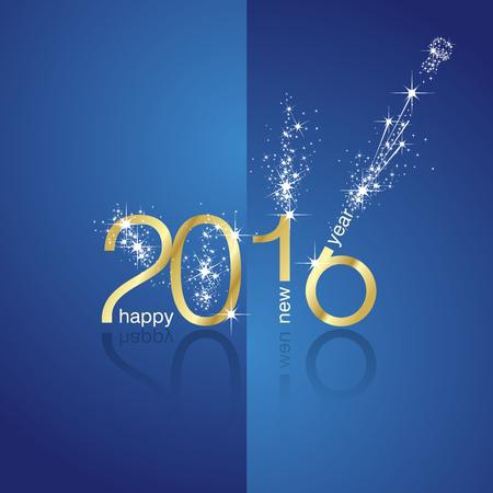 新年 2016年花火フロント青い背景  イラスト・ベクター素材