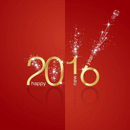 新年 2016年花火フロント バック赤い背景  イラスト・ベクター素材