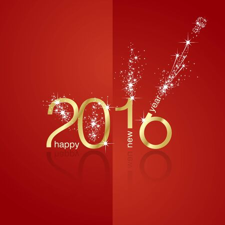 new year card: New Year 2016 firework front back red background Illustration