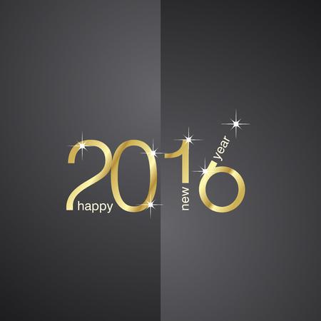 新年 2016年フロント ブラック バック グラウンド  イラスト・ベクター素材