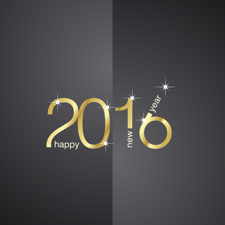 New Year 2016 front back black background