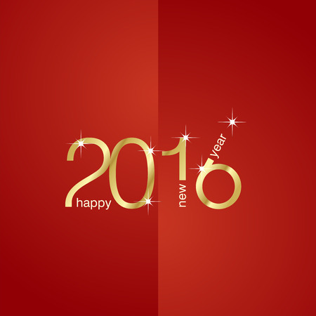happy web: New Year 2016 front back red background Illustration