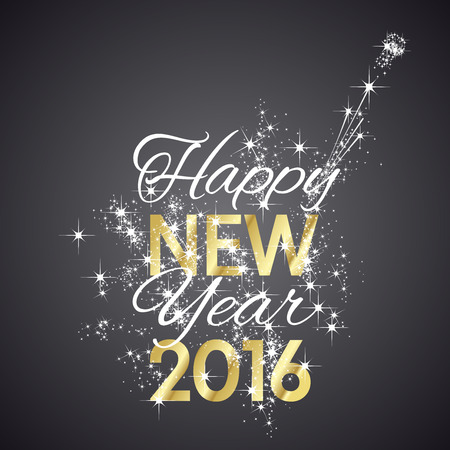 new year card: 2016 Happy New Year firework black background