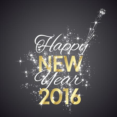 nowy rok: 2016 Szczęśliwego Nowego Roku fajerwerków czarne tło