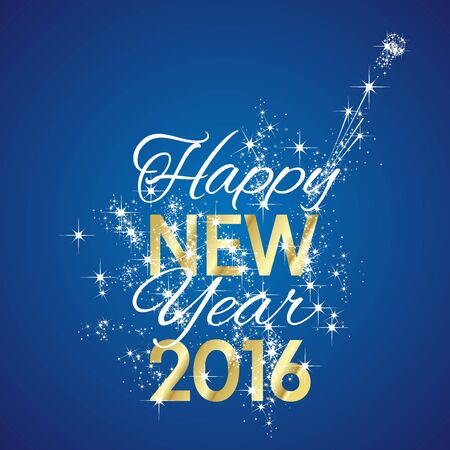 2016 Happy New Year firework blue background