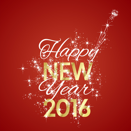 New Year: 2016 Szczęśliwego Nowego Roku fajerwerków czerwonym tle Ilustracja