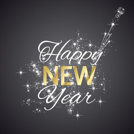 Happy New Year 2016 firework black background 일러스트