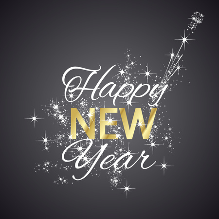 Happy New Year 2016 firework black background Illustration