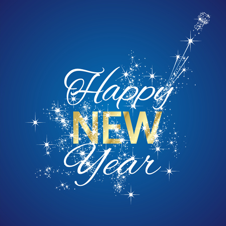 Happy New Year 2016 firework blue background