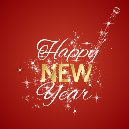 Happy New Year 2016 firework red background Illustration