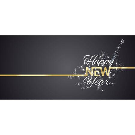 New Year greeting card firework black background Illusztráció