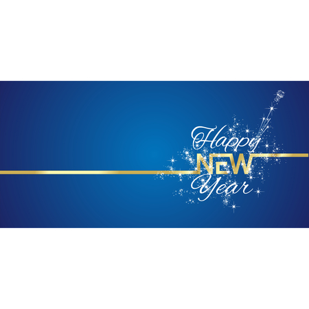 new year greeting: New Year greeting card firework blue background Illustration