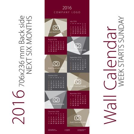 week: Calendar 2016 Week starts Sunday Maroon Gray Background Back