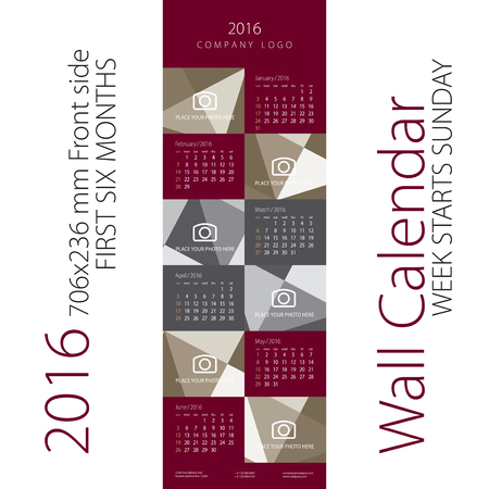 maroon: Calendar 2016 Week starts Sunday Maroon Gray Background Front