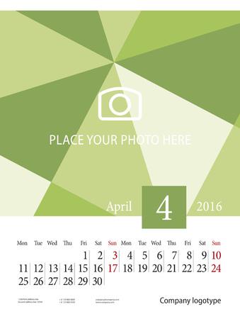 4월: Wall Calendar 2016 Week starts Monday April