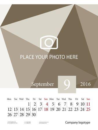 september: Wall Calendar 2016 Week starts Monday September