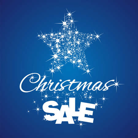 christmas star background: Christmas Star Sale discount blue background