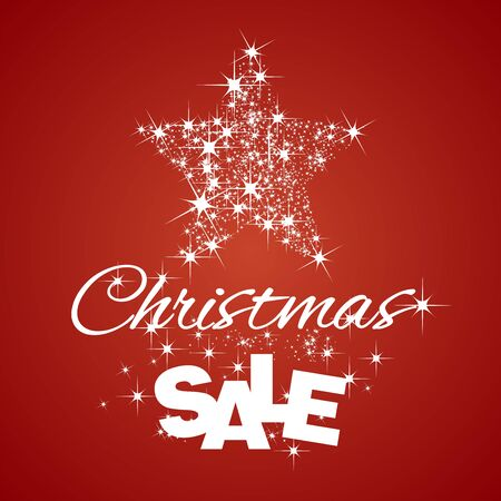 red christmas background: Christmas Star Sale discount red background Illustration