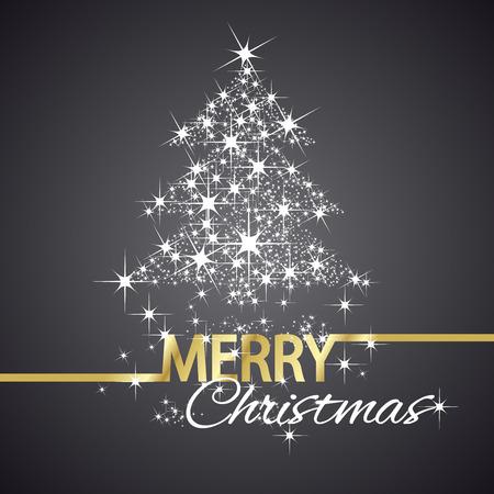 tree symbol: Christmas tree symbol stars black background Illustration