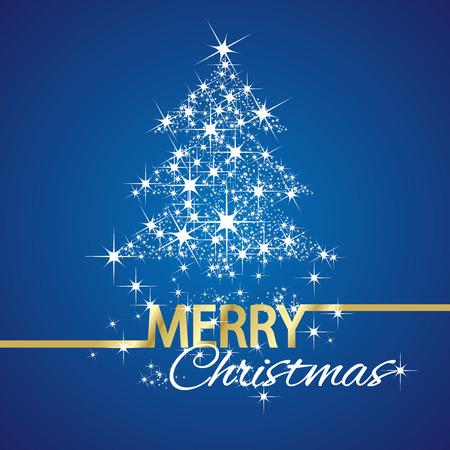tree symbol: Christmas tree symbol stars blue background Illustration
