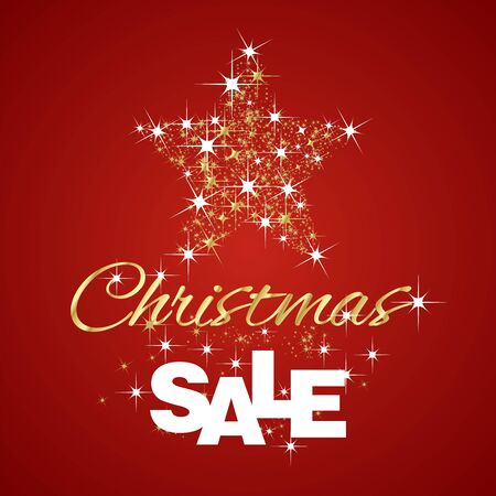 red christmas background: Christmas Gold Star Sale discount red background