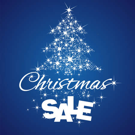 commission: Christmas Tree Sale discount blue background