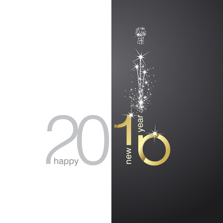 greeting card: 2016 gold firework black white background Illustration