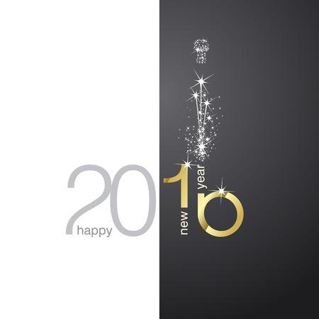 nowy: 2016 złota fajerwerków czarno białe tło