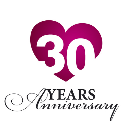 30: 30 years anniversary white background