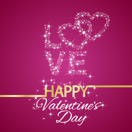 Happy Valentines Day love stars pink background