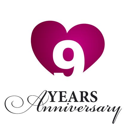 9th: 9 years anniversary white background