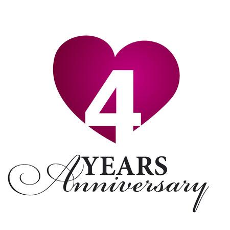 aniversario de boda: 4 años de aniversario fondo blanco