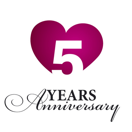 5 years: 5 years anniversary white background