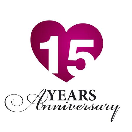 15: 15 years anniversary white background