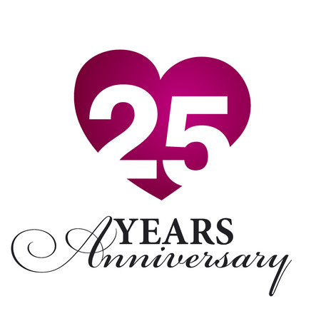 25th: 25 years anniversary white background