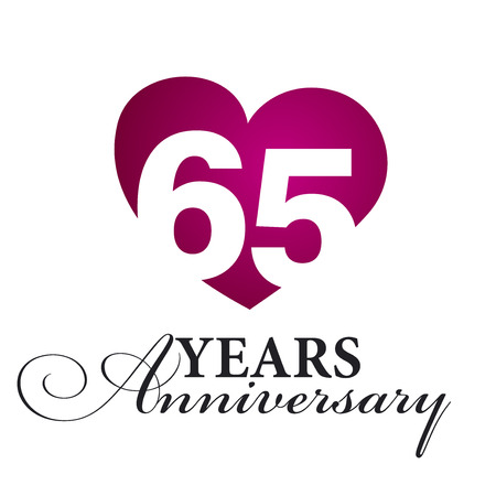65: 65 years anniversary white background Illustration