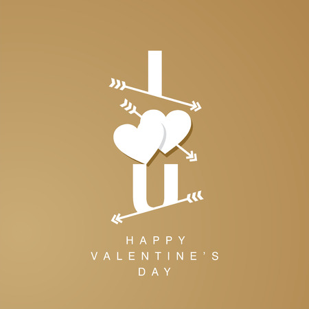i love u: I Love U arrows logotype gold background