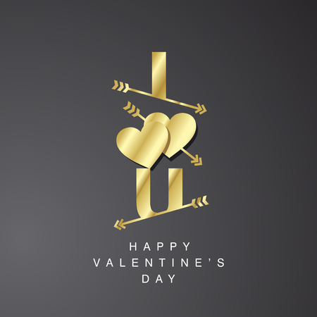 i love u: I Love U arrows logotype gold black background Illustration