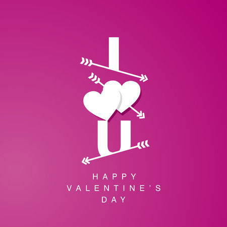 logotype: I Love U arrows logotype pink background