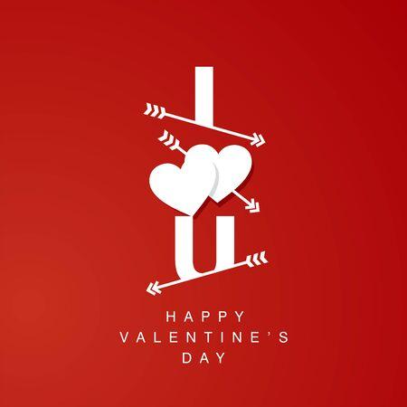 logotype: I Love U arrows logotype red background
