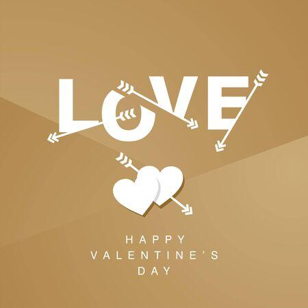 amor: Love arrows logotype gold background