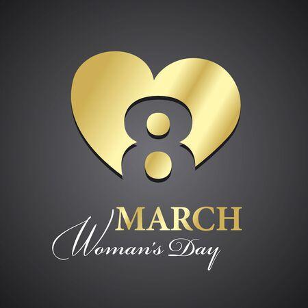 mujeres negras: Día de la mujer 8 de marzo logotipo de fondo negro de oro