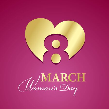 womans day: Womans Day 8 March logo gold pink background