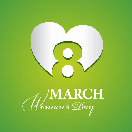 Womans Day 8 March logo silver green background