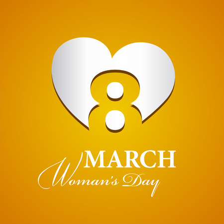 womans day: Womans Day 8 March logo silver orange background Illustration