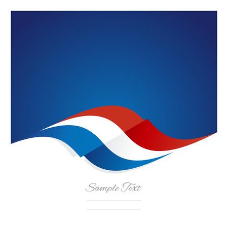 Abstrakt niederländische Flagge Band blauem Hintergrund