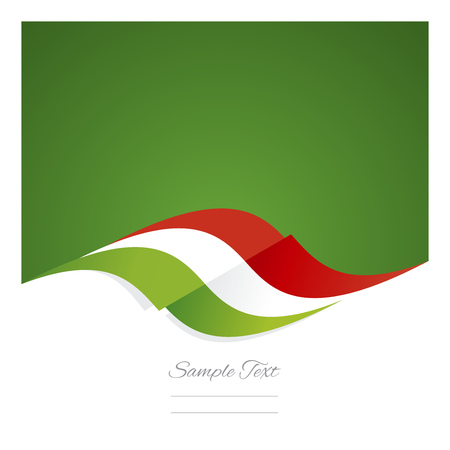 hungarian: Abstract Hungarian flag ribbon green background