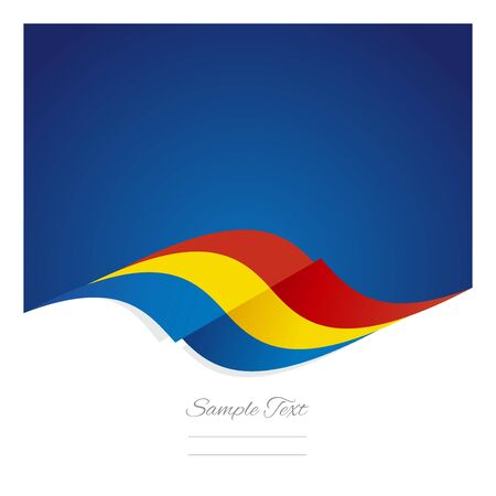 romanian: Abstract Romanian flag ribbon blue background