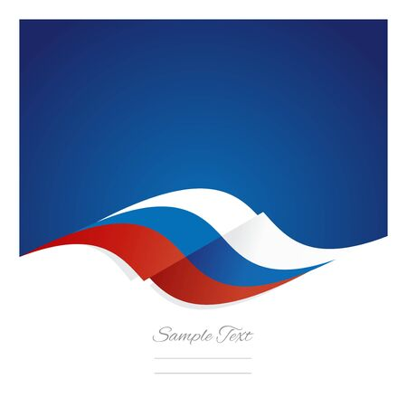 russian: Abstract Russian flag ribbon blue background Illustration